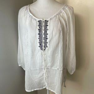 White boho blouse SZ large